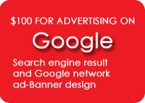 $100 for advertising on Google Search engine result and Google network + ad-Banner design